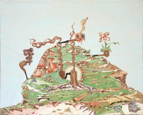 "Johan Nobell - ""Knock Knock,"" 2015, Oil on linen, 18 x 23.5 inches"