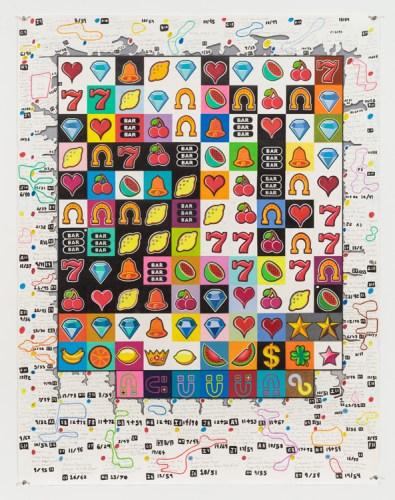 """John O'Connor - """"Slot Machine Politics,"""" Graphite and colored pencil on paper, 49.7 x 38.25 inches"""