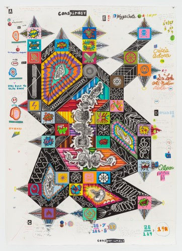 """John O'Connor - """"Conspiracy Shape,"""" 2018, Graphite and colored pencil on paper, 69.5 x 49.5 inches"""