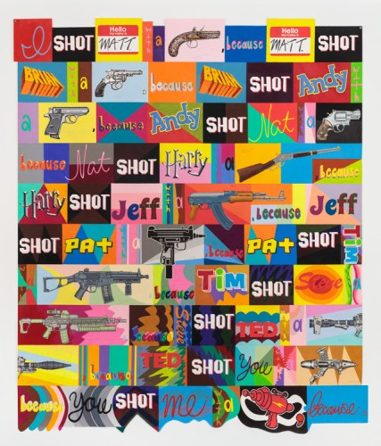 "John O'Connor - ""I Shot,"" Graphite and colored pencil on paper, 82.25 x 70.25 inches. Sold"