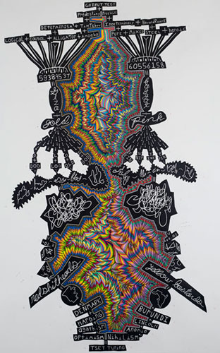 """John O'Connor - """"Turing Test,"""" 2010, Colored pencil and graphite on paper, 78 x 50 inches"""