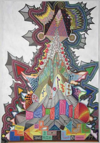 """John O'Connor - """"You Can't Win,"""" 2007, Colored Pencil, Graphite and Acrylic on Paper, 77.5 x 53.75 inches. Sold"""