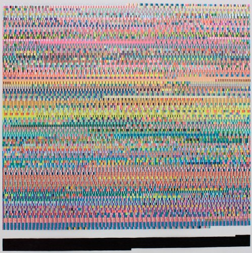 "Kathryn Refi - ""Every Word I Spoke, Arranged Alphabetically,"" 2014, Paint pen on frosted mylar, 24 x 24 inches"