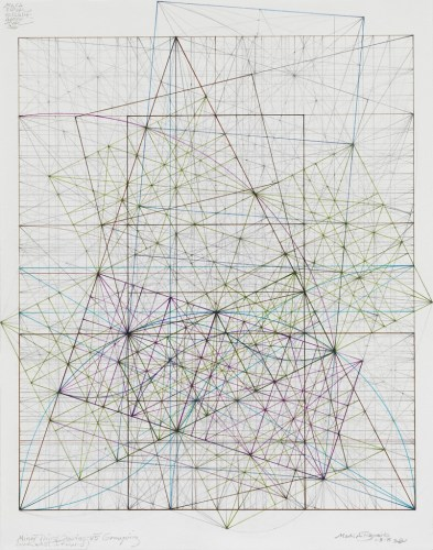 Minor Third Series: A Grouping of Root Fives, 1.5.15 - 2015, Graphite and colored inks on cotton paper, 12 x 10 inches. Sold