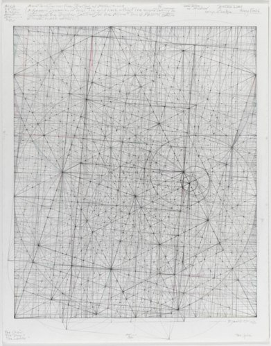 """Mark Reynolds - """"Minor Third Series: Harmonics, 8.22.11,"""" 2011, Graphite and colored pencil on cotton paper, 12 x 10 inches. Sold"""