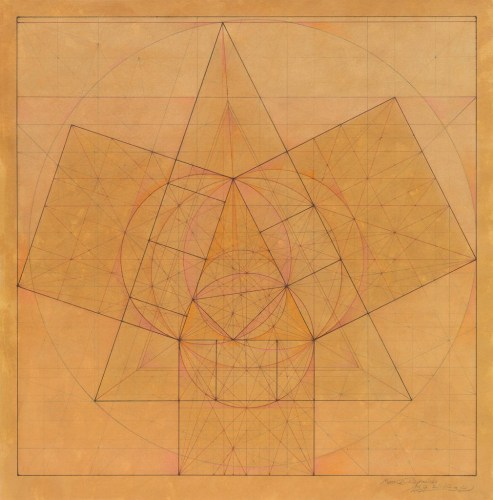 """Mark Reynolds - """"Minor Third Series: Nods to Pythagoras, 2.1.13,"""" 2012, Graphite, ink, and pastel on mustard stained paper, 20.375 in. x 20.375 inches. Sold"""