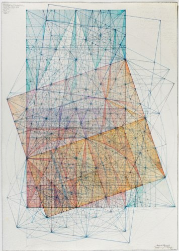 """Mark Reynolds - """"Minor Third Series: Transitions from Diagonal and Half-Diagonal, 1.13,"""" 2013, Watercolor and colored ink on cotton paper, 20 x 14.125 inches"""