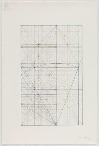 Phi Root Three Series: Other Close Relationships Between Families 1.3.15 - 2015, Graphite and colored inks on cotton paper, 18.25 x 12.125 inches