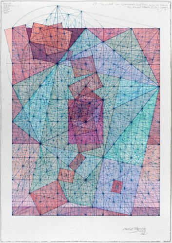 "Mark Reynolds - ""Square Root Phi Series: Meanders, 2.13,"" 2013, Watercolor, pen and ink on cotton paper, 20 x 14.125 inches"