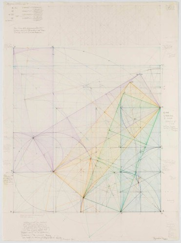 "Mark Reynolds - ""Squaring the Circle Series: Study for an Approximation of Pi, 1.9.01,"" 2001, Graphite, color pencils and ink on cotton paper, 30 x 22 inches"