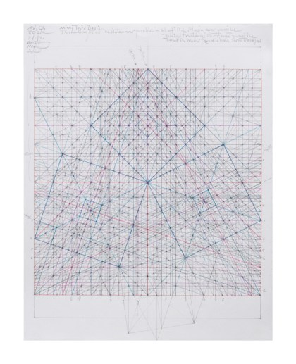 """Mark Reynolds - """"Minor Third Series: Three Squares,2.6.21""""   2021 Graphite, colored pencils, and ink on paper 14 in. x 11 in.  $3400"""