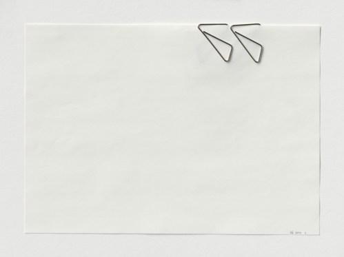 "Karin Sander - ""KS_2000_1,"" 2000, Paper clips, paper, 8.5 x 11 inches. Courtesy of Esther Schipper."