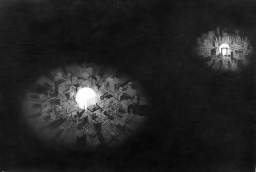 Remaking the Night Sky - 2008, Graphite on Paper, 41.25 x 49.75 inches