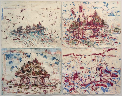 """David Scher - """"Manure Wagon of the Stars / Still Raft (Four panels),"""" 2016, Mixed media on paper mounted on four wood panels, 71 x 92 inches overall (DS076)"""