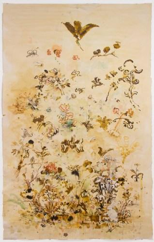 "David Scher - ""Hasekin,"" Mixed media on paper, 73.75 x 45 inches"