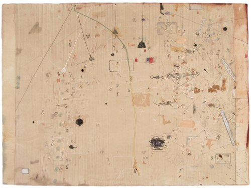 Bagnolo Series W9 - 2011, Ink, pencil, collage, and string on paper, 22 x 30 inches