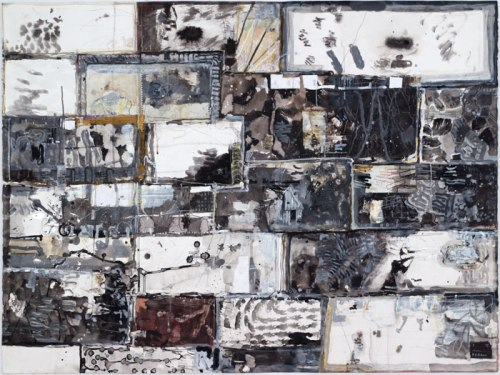 "David Scher - ""Black 005,"" 2012, Mixed media on paper, 33.25 x 44.75 inches"