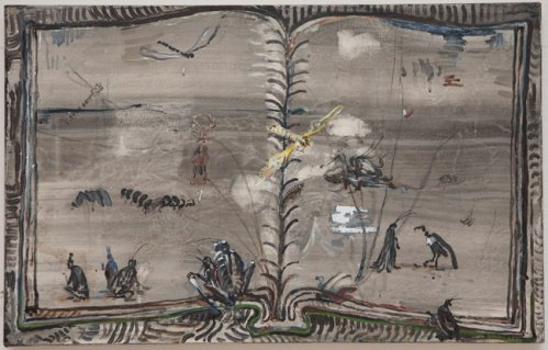 """David Scher - """"Book with Insects,"""" 2009, acrylic on canvas, 19 x 30 inches"""