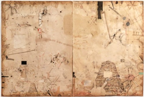 Untitled (Diptych) - 2012, Mixed media on paper, 29.75 x 44.5 inches overall