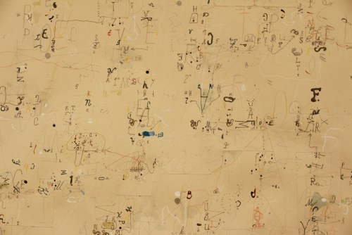 """David Scher - DETAIL: """"Department of Lettering I,"""" 2020, Mixed media on paper, 17 x 20.5 inches"""