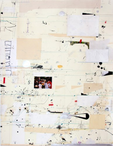 """David Scher - Detail (Panel I): """"Score 19,"""" 2016, (Four sections), Mixed media on paper, mounted on four wood panels, 46 x 176 inches overall"""
