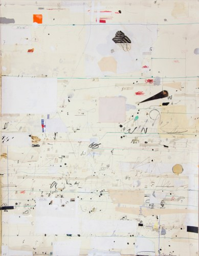 """David Scher - Detail (Panel II): """"Score 19,"""" 2016, (Four sections), Mixed media on paper, mounted on four wood panels, 46 x 176 inches overall"""