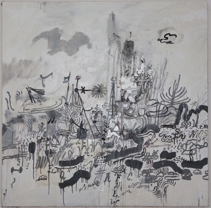 Untitled - 2010, Oil base enamel on linen, 48 x 48 inches
