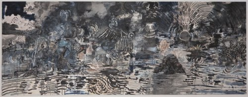 Untitled - 2010, Acrylic and oil on Canvas, 40 x 104 inches