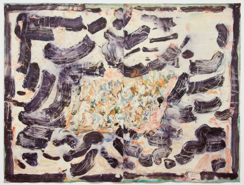"""David Scher - """"Flipped raft, yet raft 2,"""" 2015, Mixed media on paper, 34 3/4 x 47 3/4 inches"""