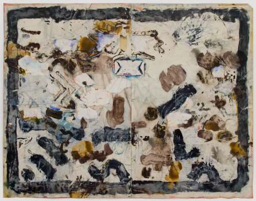 David Scher - Untitled, Mixed media on paper, 34.75 x 45.75 inches
