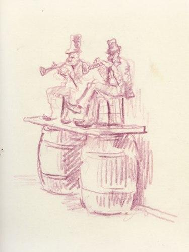 no title - David Scher, Untitled (Music Barrels), ink on paper