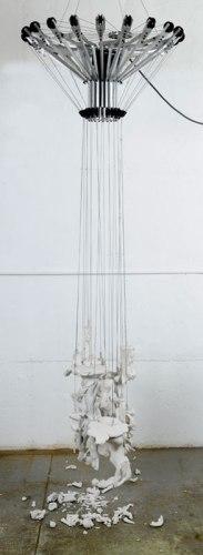 Jonathan Schipper - Sexy, Shameful, Naked, Nude, Statue Sculpture,  2011, Mixed media, Approx.120 high x 30 diameter (inches)