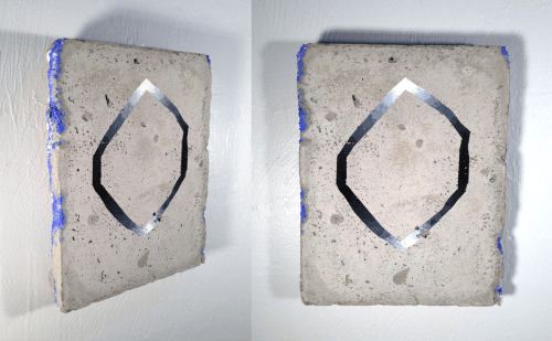 """""""Sharpening Dulled,"""" 2013, Concrete, powdered pigment, gouache, 10 x 7 inches"""