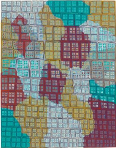 "James Siena - ""Leviathan,"" 2009-11, Enamel on aluminum, 29 1/16 x 22 11/16 inches"