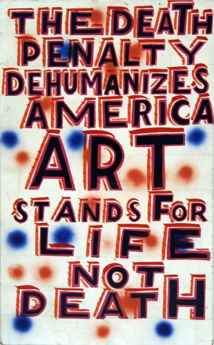 The Death Penalty - 2011, enamel on found material, 18.5 x 30.5 inches