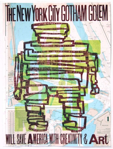 The New York City Gotham Golem - 2011, Limited edition letterpress on map, 17.75 x 13.75 inches. Ed. of 26
