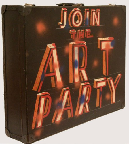 Join the Art Party - 2011, Enamel on found suitcase, 26 x 22 x 6 inches