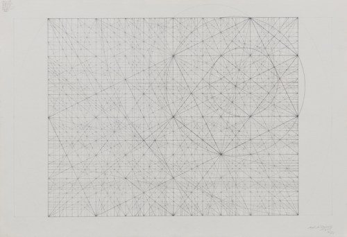"Mark Reynolds - ""Spiritual Jukebox Series: Clusters of Music with an Eclipse, 9.17,"" 2017, Graphite on cotton paper, 15 x 22 inches"