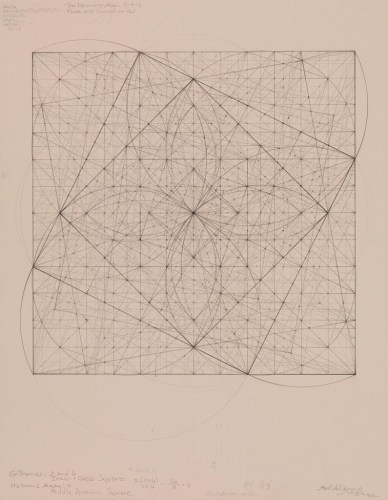 "Mark Reynolds - ""Square Series: Generation of the Harmonic Mean, 3-4-6, 11.29.12,"" 2012, Graphite on cotton paper, 14 x 11 inches"