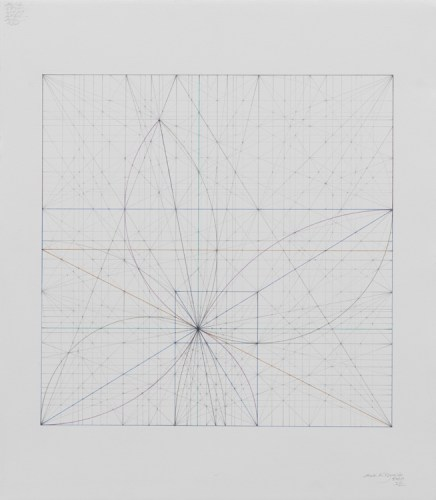 "Mark Reynolds - ""Square Series: Golden Ogees, 7.17,"" 2017, Graphite on cotton paper, 17.25 x 15 inches"