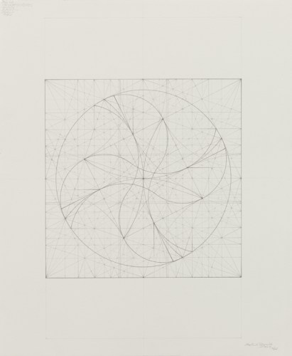 """Mark Reynolds - """"Square Series: Static and Dynamic States, 10.17,"""" 2017, Graphite on cotton paper, 18 x 15 inches"""