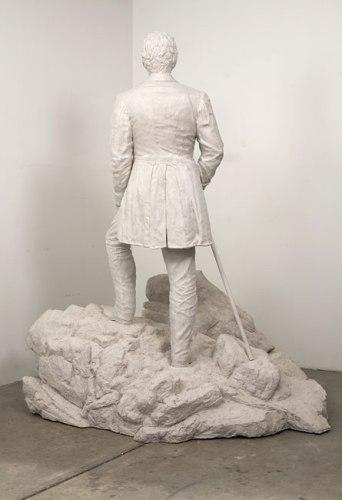 "John Stoney - ""Corner Piece (after Caspar David Friedrich's ""Der Wanderer uber dem Nebelmeer""),"" 2009, Diatomaceous earth, polymerized gypsum, 85 x 75 x 64 inches"