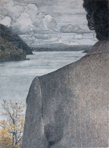 """John Stoney - """"View from West Point,"""" 2009, Colored pencil on rag paper, 41 x 30 inches Private Collection"""