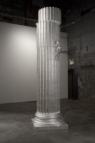 Nocturn - 2011, Polymerized gypsum, sterling silver leaf, 147 x 40 x 40 inches