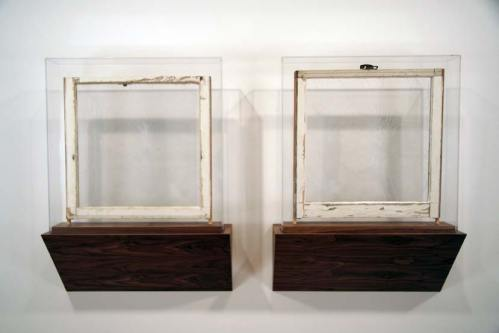 Where, What, When (Dislocated remnants from simultaneous events, #s 8 and 9, Providence, RI) - 2006, Wood, paint, plexi-glass