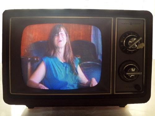 "Eve Sussman and Christine Rebet - ""C/J-D=,"" 2014, DVD video on General Electric Color Television, 12 x 15 x 15 inches"