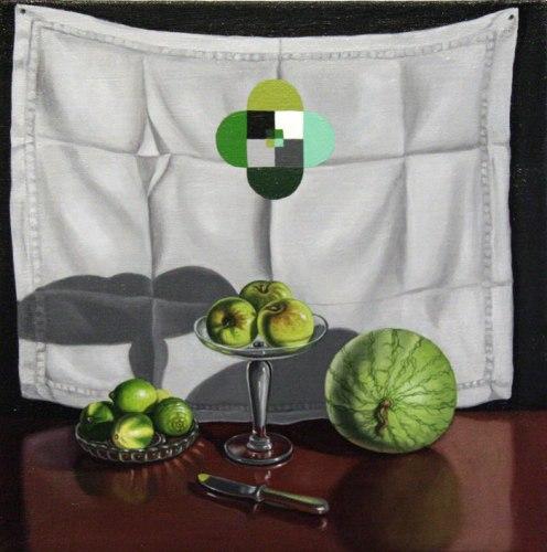 "Lynn Talbot - ""Green Mandalas,"" 2011, Oil on linen, 12 x 12 inches"