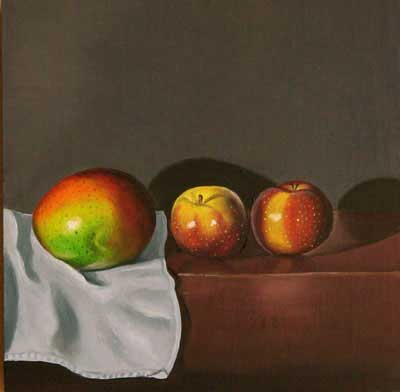 "Lynn Talbot - ""Mango and Plums,"" 2008, Oil on Linen on Panel, 5 x 5 inches"