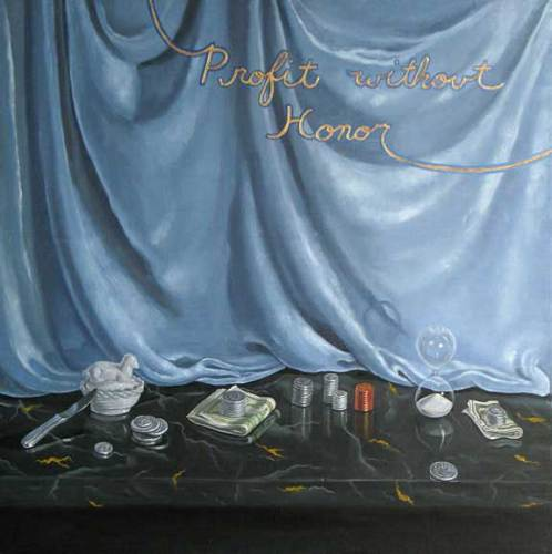 """Lynn Talbot - """"Profit Without Honor,"""" 2008, Oil on Solid Walnut Panel, 12 x 12 inches"""