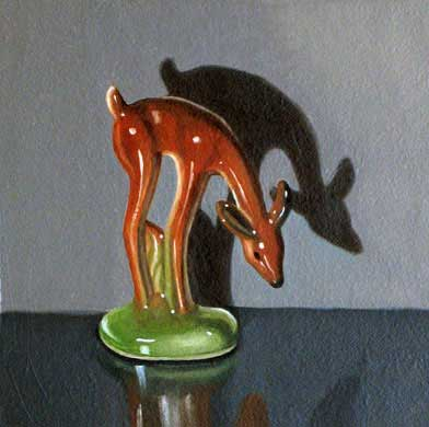 """Lynn Talbot - """"Small Brown Deer,"""" 2008, Oil on Linen over panel, 4 x 4 inches"""
